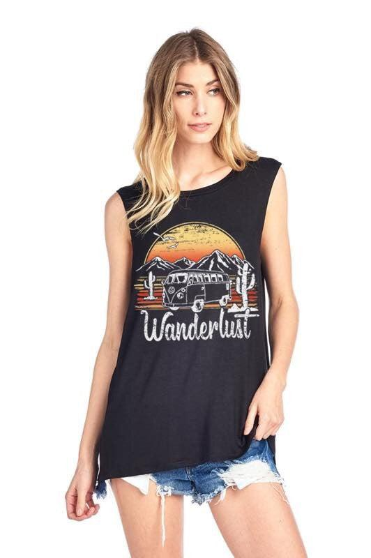 Wanderlust Tank- Black - 512 Boutique