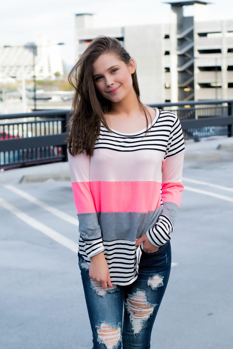 Neon Striped Top- Pink - 512 Boutique