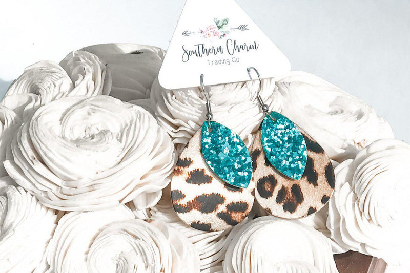 Leopard + Teal Glitter Bitty Layer Earrings - 512 Boutique