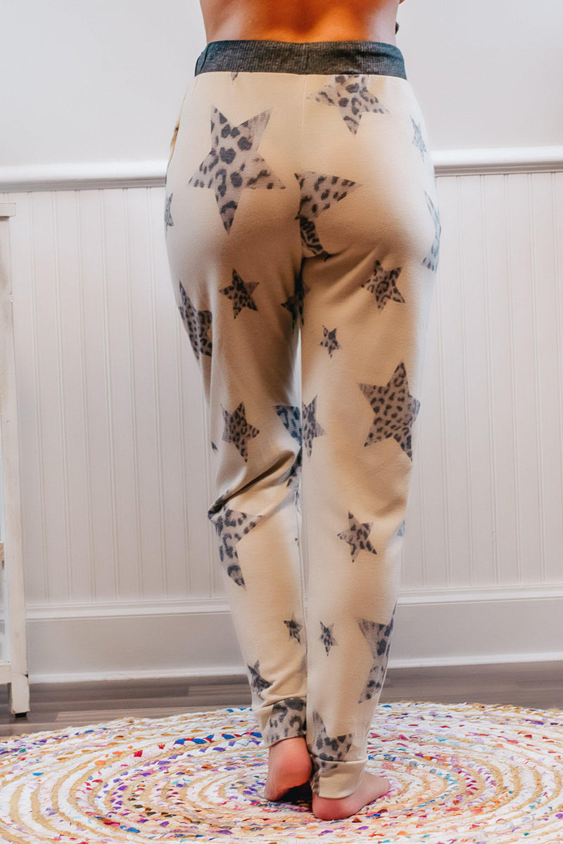 Leopard Star Taupe Lounge Pants - 512 Boutique
