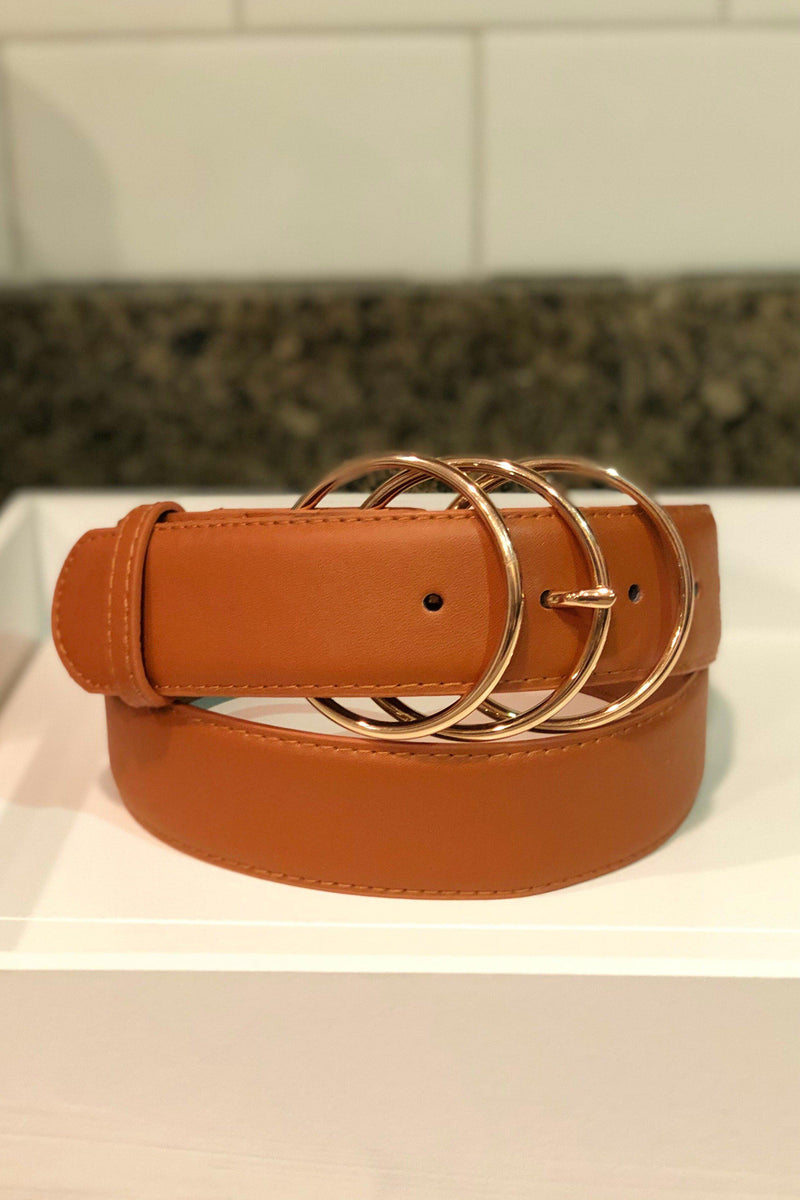 Triple Threat Belt - Gold Rings (Camel) - 512 Boutique