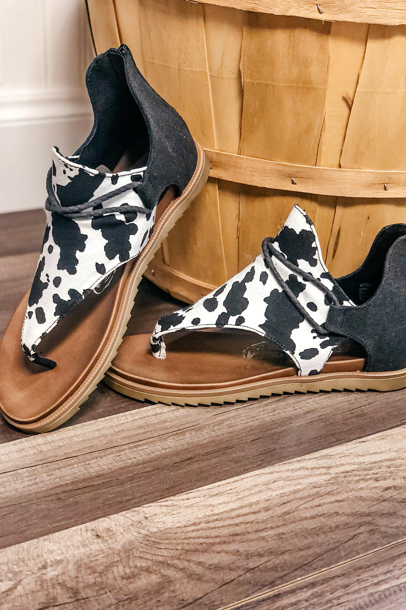 Very G Angelika Cow Print Sandal - 512 Boutique