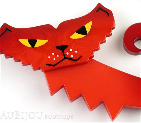 Marie-Christine Pavone Brooch Cat Geometric Petrus Red Galalith