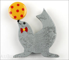 Marie-Christine Pavone Pin Brooch Circus Sea Lion Pearly Grey Galalith