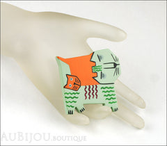 Marie-Christine Pavone Brooch Cat Picasso Pistachio Green Galalith Limited Edition