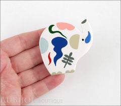 Marie-Christine Pavone Brooch Elephant Handpainted White Galalith Limited Edition