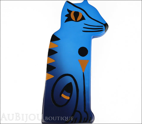 Marie-Christine Pavone Brooch Cat Egyptian Blue Galalith Limited Edition