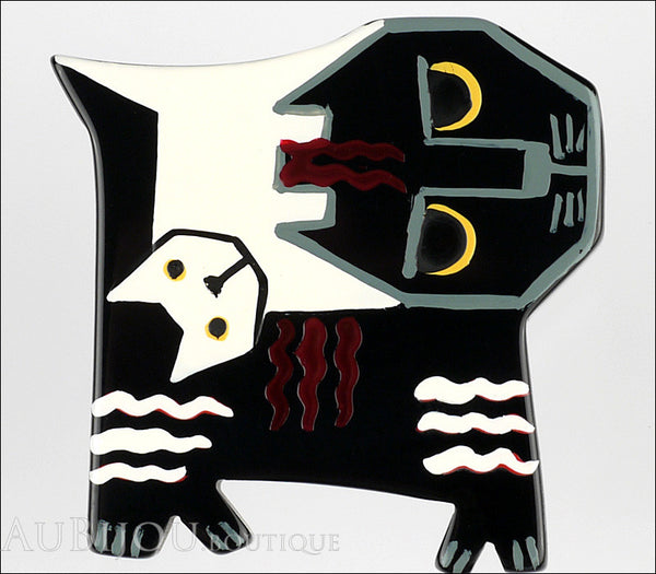 Marie-Christine Pavone Brooch Cat Picasso Black White Galalith Limited Edition