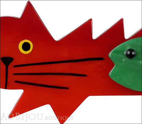 Marie-Christine Pavone Brooch Cat Fish Red Green Galalith