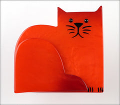 Marie-Christine Pavone Brooch Cat Sitting Socrate Red Galalith