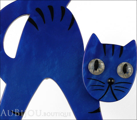 Marie-Christine Pavone Brooch Cat Bristle Cobalt Blue Galalith