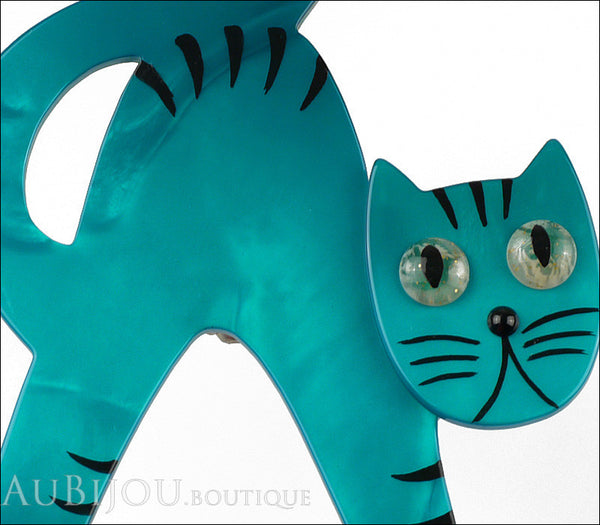 Marie-Christine Pavone Brooch Cat Bristle Turquoise Blue Galalith