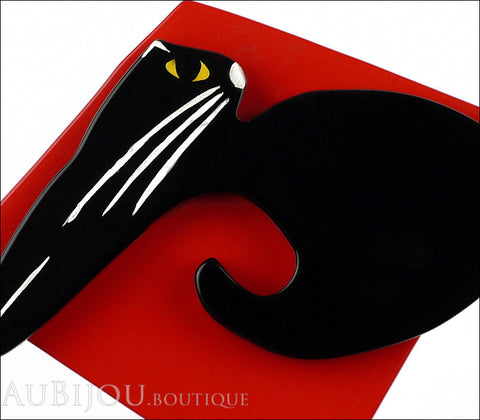 Marie-Christine Pavone Brooch Cat Cushion Black Red Galalith