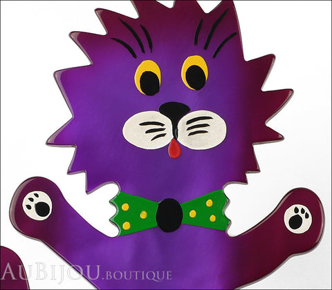 Marie-Christine Pavone Brooch Cat Clown Purple Galalith