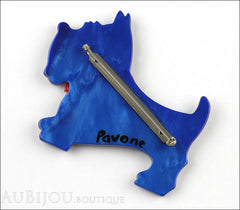 Marie-Christine Pavone Brooch Dog Jano Blue Galalith