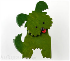 Marie-Christine Pavone Brooch Dog Bobby Dark Green Galalith