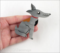 Marie-Christine Pavone Pin Brooch Dog Jack Russel Terrier Grey Galalith