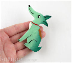 Marie-Christine Pavone Pin Brooch Dog Jack Russel Terrier Mint Green Galalith