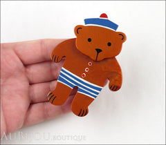 Marie-Christine Pavone Pin Brooch Teddy Bear Sailor Cinnamon Galalith