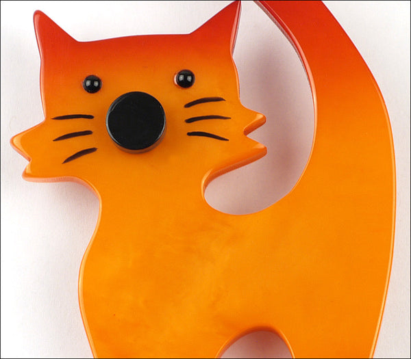 Marie-Christine Pavone Brooch Cat Standing Barbichou Orange Galalith