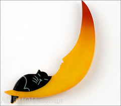 Marie-Christine Pavone Brooch Cat On The Moon Orange Black Galalith