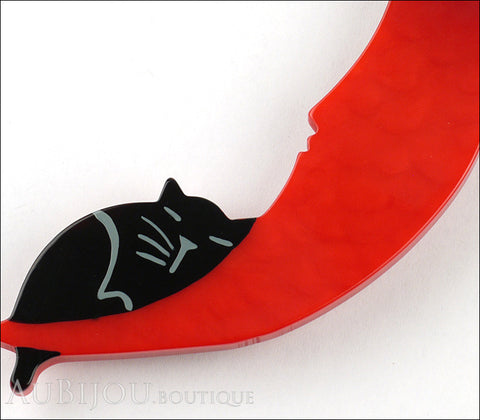 Marie-Christine Pavone Brooch Cat On The Moon Red Galalith