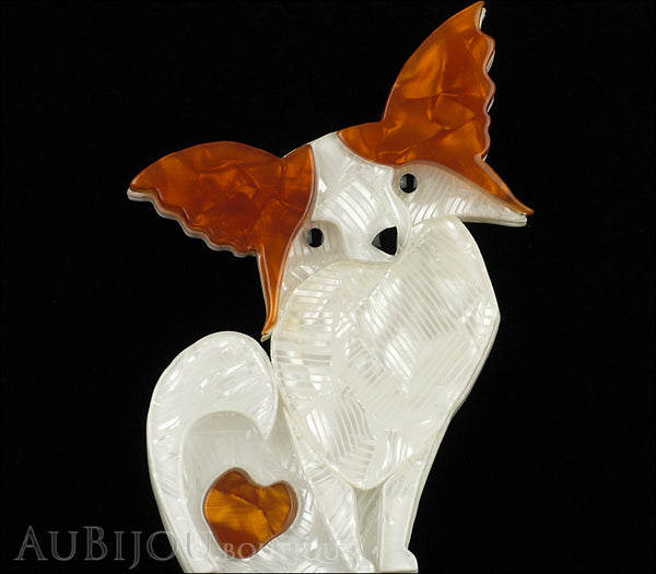 Erstwilder Madame Butterfly Beige White Papillon Dog Brooch Pin