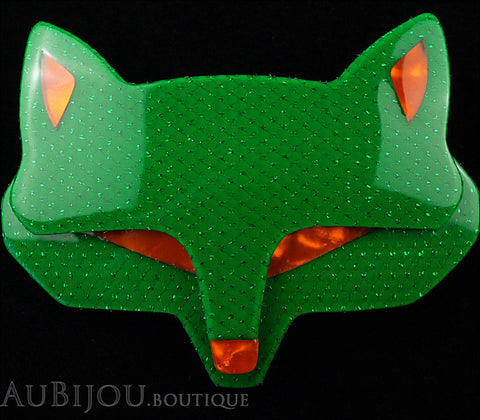 Lea Stein Goupil Fox Head Brooch Pin Green Mesh Orange