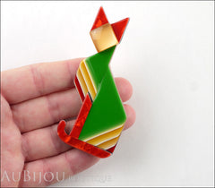 Lea Stein Deco Cat Brooch Pin Green Red Yellow