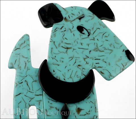 Lea Stein Ric The Airedale Terrier Dog Brooch Pin Turquoise Blue