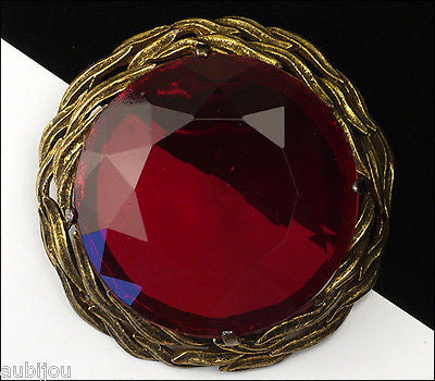 Vintage Large Signed Capri Openback Siam Red Glass Rhinestone Brooch Pin Pendant 1950's
