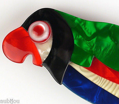 Lea Stein Kokokah The Parrot Brooch Pin Green Red Black Blue Gallery