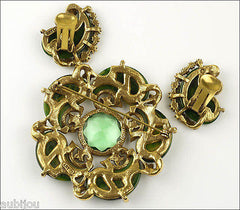 Vintage Signed Art Spinach Green Marbled Bakelite Peridot Rhinestone Brooch Pin Set