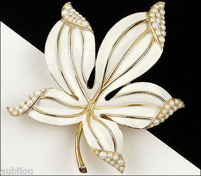 Vintage Trifari Large Floral White Enamel Simulated Pearl Leaf Brooch Pin 1960's