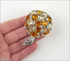 Jomaz Floral Jonquil Topaz Faceted Glass Rhinestone Bouquet Nosegay Brooch Pin
