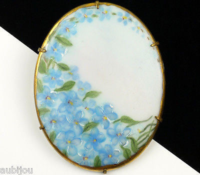 Antique Porcelain Hand Painted Floral Light Blue Forget Me Not Flower Brooch Pin