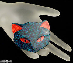 Lea Stein Bacchus The Cat Head Brooch Pin Dark Blue Red Mannequin