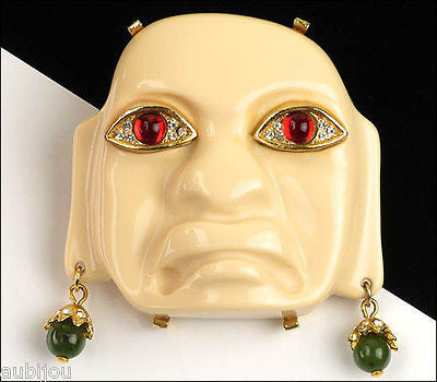 Vintage Kenneth Jay Lane KJL Precolumbian Tribal Olmec Mask Lucite Brooch Pin 1970's