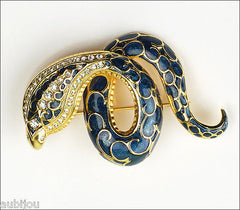 Joan Rivers Figural Blue Enamel Rhinestone Snake Serpent Cobra Brooch Pin