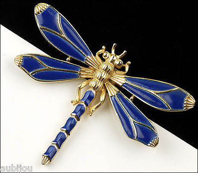 Vintage Crown Trifari Figural Dark Blue Enamel Dragonfly Insect Brooch Pin 1960's