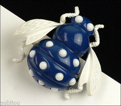 Vintage Trifari Figural Dark Blue Lucite White Enamel Bee Bug Fly Insect Brooch Pin