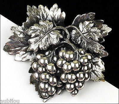 Vintage Napier 3D Floral Silverplated Grape Cluster Fruit Brooch Pin 1960's