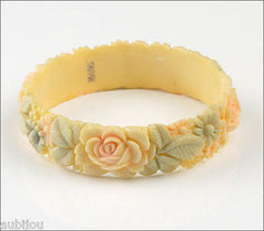 Vintage Japan Celluloid Floral Flower Rose Cream Leaf Bracelet Bangle 1950's Plastic