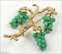 Vintage Marvella Grape Vine Faux Jade Green Peking Glass Cluster Tree Brooch Pin Set