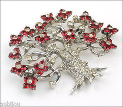 Vintage Pennino Sterling Silver Blooming Tree Cherry Blossom Rhinestone Brooch Pin