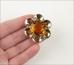 Vintage Trifari Floral Flower Topaz Faceted Glass Rhinestone Fur Clip Pin Set 1950's