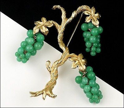 Vintage Marvella Grape Vine Faux Jade Green Peking Glass Cluster Tree Brooch Pin 1960's