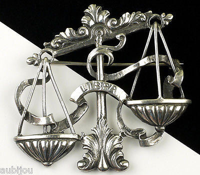 Vintage Cini Sterling Silver Zodiac Figural Libra Brooch Pin Astrology Sign Scales