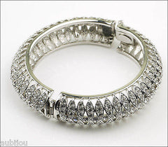 Kenneth Jay Lane KJL Art Deco Clear Rhinestone Crystal Hinged Bracelet Bangle