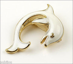 Vintage Crown Trifari Figural White Enamel Dolphin Fish Brooch Pin Sea 1960's